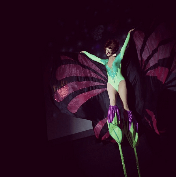 Wingsed stilts number from BOTS after costume change, Photo by Drag Coven.